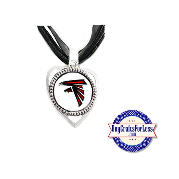 ATLANTA Football HEART PENDaNT, CHooSE Design and with or without Ribbon Cord - Super CUTE!  +FReE SHiPPiNG & Discounts*