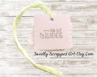 Life Is Sweet Tags .... Mint, White, Chocolate Brown, Square, Label, Treat, Baby Shower, Wedding, Anniversary, Bridal Tags, Candy Tags, DIY