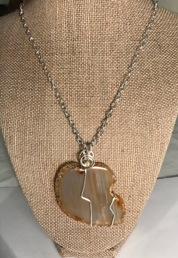 Large polished sliced agate pendant-tarnish resistant silver wire wrapped