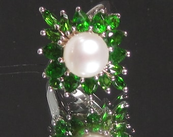 Vintage Sterling Silver Green Peridot and Pearl Gemstone Ring Sz 5.25