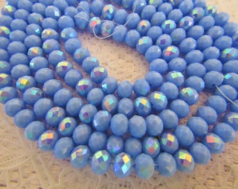 95 pcs Rondelle Faceted GLASS CRYSTAL Beads 6mm x 4mm Lavender AB