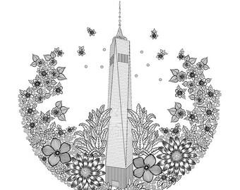 freedom tower digital print