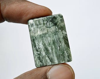 22 Cts Natural Russian Seraphinite Gemstone Rectangle Cabochon 27x20x4 MM Green Cabs R09426