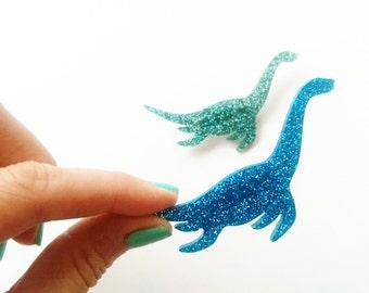 Glitter Plesiosaur Dinosaur Brooch. Sparkly Dinosaur Pin. Loch Ness Monster Brooch Nessie Brooch Sea Dinosaur Glitter Nessie Loch Ness Badge