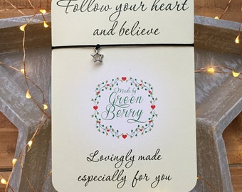 "Hollow Star charm String Bracelet ""Follow your heart"" quote card stars thankyou wish bracelet madebygreenberry"