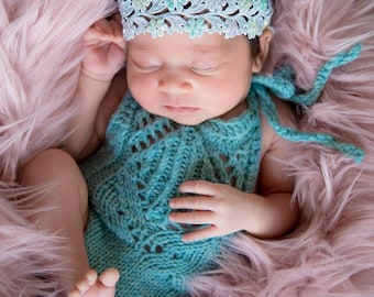 Blue Newborn Ruffle Romper  - Infant Photography Prop - Newborn Girl Romper - Ruffle Turquoise Knit Romper - Newborn Set - Photography Prop