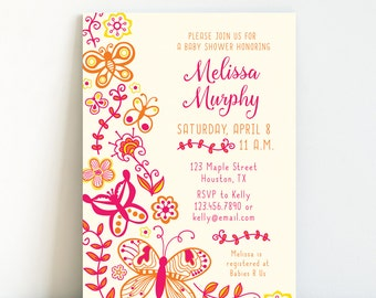 Butterfly Baby Shower, Butterfly Shower Invitation, Spring Baby Shower Invitation, Garden Baby Shower - Pink & Orange, Printable