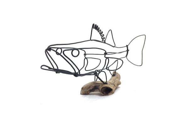 Zander-Draht-Skulptur Fisch-Draht-Kunst minimale