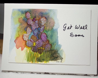 Hand Painted Greeting Card, Get Well Soon, Blank Card, Original Watercolor Card,  Colorful Cactus, Nature, Free Shipping