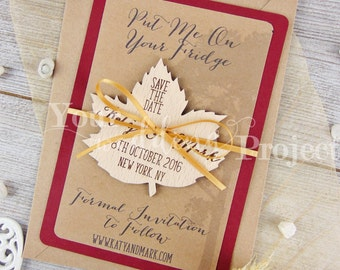 Leaf Save the Date Magnet, Custom Wood Save the Dates, Burgundy Save the Date, Wooden Save the Date, Wedding Invitation, Tree Save the Date