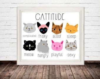 funny cat print, cat print art, cat printable, cat wall art, crazy cat lady, cat home decor, 8x10 printable, funny cat art, 8x10 cat print