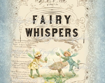 FAIRY Whispers LARGE format digital image download vintage blue ivory Fairies Buy 3 Get one Free