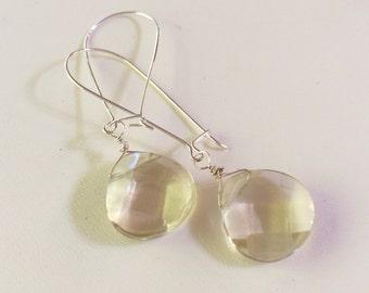 Pale Yellow Lemon Quartz Earrings, Sterling Silver Earrings, Dangle Earrings, Faceted Lemon Quartz Briolette, Handmade Earrings