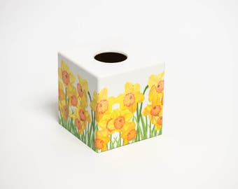 Spring Daffodil  Wooden Handmade Tissue Box Cover