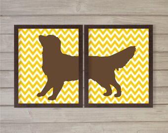 Golden Retriever Wall Art Printable - Deep Yellow Chevron, Set of 2 - 8x10 - Instant Download, Digital Poster, Home Decor, Dog, Pet Lover