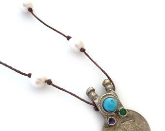 Kuchi coin pendant necklace, baroque pearl necklace, hand knotted pearl necklace, vintage coin pendant necklace, tribal necklace, boho