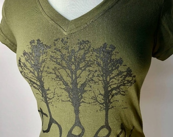 Trees Olive Green w/ Brown Ink
