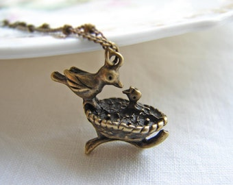 Gift for Mom ~ New Mom Necklace ~ Mom and Baby Bird Charm ~ Mother and Daughter Gift
