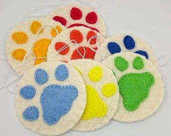 Cat pawprint ornament - felt christmas decor for dog-lovers - dog paws - pet memorial keepsake - hanging decoration