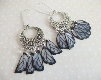 Earrings creole print in the wings of butterfly jewelry spirit Native American version 1