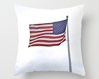 Photo Pillow Cover Decorative American Flag Pillow Patriotic Pillow Cover Only