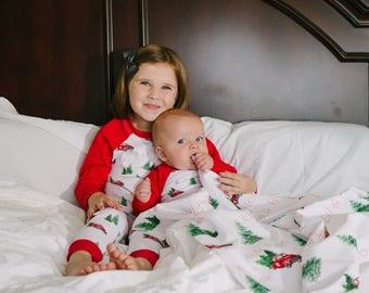 Christmas Pajamas - Pj's For Christmas Photos - Christmas Trucks -Trees - Prop - Photography - Jammies - Clothing - Christmas Pictures - Red