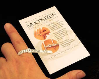 Ring sizer, reusable, adjustable plastic ring size finder, Size 1-17