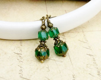Green Earrings, Emerald Earrings, Emerald Green Earrings, Victorian Earrings, Green and Gold Earrings, Czech Glass Beads, Unique Earrings