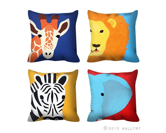 7 Inspiring Kid Room Color Options For Your Little Ones: Any One Jungle Animal Throw Pillow. Safari Nursery Decor