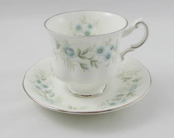 """Paragon Tea Cup and Saucer in """"Debutante""""  Pattern, Blue Flowers, Vintage Bone China"""
