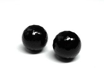 Onyx Globe Stud Earrings | Ready to Ship | Handmade with 14k Gold, Black Earrings, Faceted Gemstone Globe Earrings