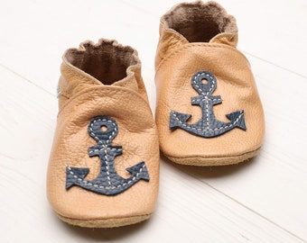 Baby shoes Leather baby shoes, Soft sole kids shoes, Boys Baby leather moccasins Girls, Infant shoes, Baby booties, Beige, Anchor, Chaussons