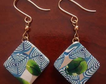 Blue and White Drop Earrings