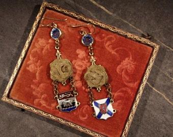 Souvenir bracelet remnants Rhinestone assemblage earrings vintage antique jewelry souvenir enamel gorgeous statement oldnouveau repurposed