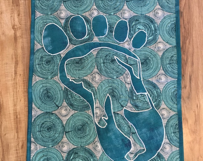 Mysterious Bigfoot, Aqua Wall Hanging.