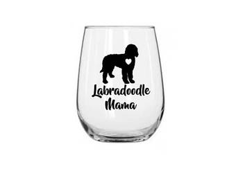 Labradoodle Wine Glass | Labradoodle Stemless Wine Glass | Personalized Glass | Gift for Her | Labradoodle Mom Glass | Labradoodle Mug