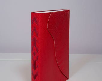 Bright Red Leather Journal / Notebook / Sketchbook - Long Stitch Binding with Marbled paper Interior
