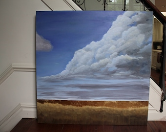 fantasy realism landscape gold leaf clouds 48x48 large extra large xl painting acrylic and oil on canvas