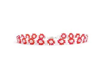 Rot Fuß Schmuck - Perle Fußkettchen - Seed Bead Fußkettchen - Sommer-Strand-Schmuck - Perlen Urlaub Fußkettchen