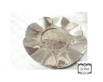 Tray, small, decorated,vintage, chrome, G.C.