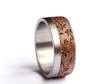 Stainless Steel Wedding Ring, Women Wedding Band, Wood Wedding Ring, Leaves Wood Wedding Ring
