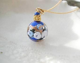 Cobalt ronde collier en verre de Murano Venise