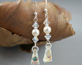 Bridal Swarovski Crystal AB Earrings Long Dangle Drop Sparkly Bridesmaid Gift for Her Ivory Earrings Sterling Silver