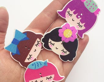 Wooden Button Brooches - Girls with Colourful Hair