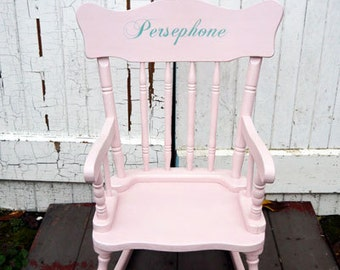Children's vintage personalised name rocking chair custom made to order with your child's name