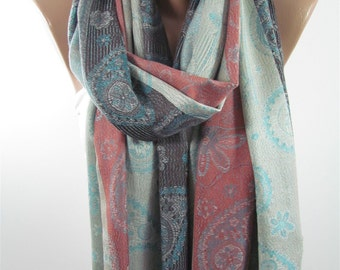Mothers Day Gift For Her SOFT Pashmina Scarf Large Paisley Scarf Cowl Scarf Floral Scarf  Gifts   For Mom For Mom