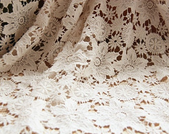 Vintage style cotton fabric, beige crochet lace fabric, women dress and window curtains fabric