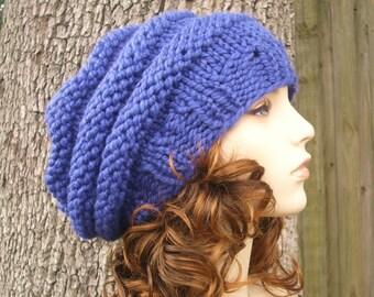 Cobalt Blue Oversized Beret Womens Hat Slouchy Beanie - Beehive Beret Knit Hat - Blue Hat Blue Beret Blue Beanie Womens Accessories