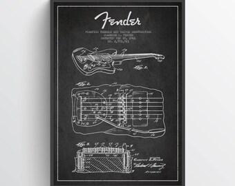 1961 Fender Guitar Patent Poster, Patent Art Print, Patent Print,  Fender Guitar Art, Wall Art, Home Decor, Gift Idea, MUIN26P