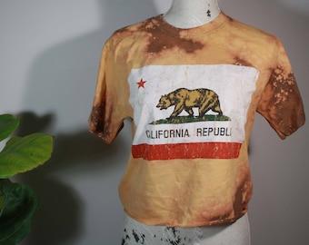 California Republic Shirt- crop top, bleached shirt, bleached crop top, distressed top, vintage shirt, ripped shirt, fall shirt thrift store